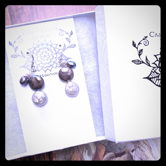 Casey Keith Design Jewelry - Double Coin Pearl Earring